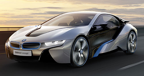 BMW 2013 i8 True blue: Distinctive blue-rimmed kidney grille will make it to production, but can be delete-optioned.