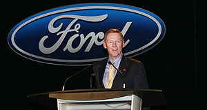 Ford  In the red: Ford president and CEO Alan Mulally.
