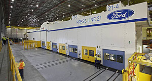 Ford  Idled down: Ford's new press at the Geelong stamping plant.