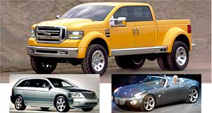 Ford  Straight from the USA: Ford Tonka (top) dwarfs all for size, while the Chrysler Pacifica (bottom left) and Pontiac Solstice (bottom right with GM executive Bob Lutz driving) come from different directions.