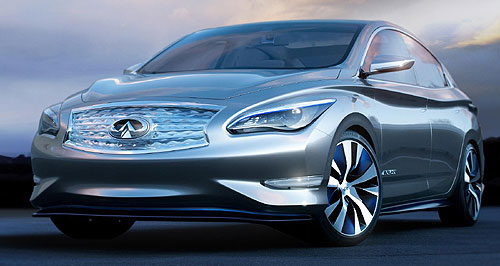 Infiniti 2014 Infiniti LE Park and charge: The Infiniti LE concept will even remember the GPS co-ordinates of your garage wireless charging point, and will automatically park there.
