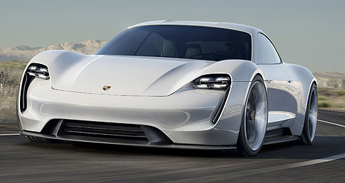 Porsche 2019 Mission E Power up: Porsche Cars Australia has its eyes on Porsche's new electric vehicle based on the  Mission E concept revealed at the 2015 Frankfurt motor show.