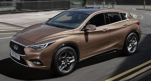 Infiniti  Here to Infiniti: Nissan's luxury brand, Infiniti, is adding retail outlets at a clip to handle its expanding range of vehicle such as the upcoming Q30.