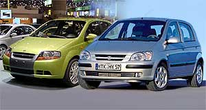Hyundai  Getz smart: Hyundai's new Getz (front) and the Daewoo Kalos (rear) were understated stars of the Geneva motor show.