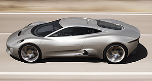 Jaguar 2014 C-X75 Like a banshee: The tiny but potent four-cylinder engine reportedly developed for the Jaguar C-X75 is said to rev out to some 10,000rpm.